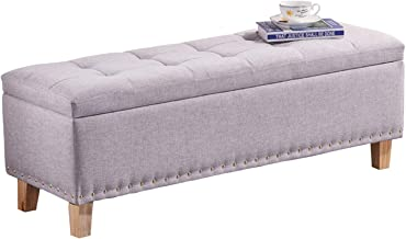JQQJ Ottomans Bench Storage Ottoman Bench Storage Chest Foot Rest Stool Modern Look with Linen Design for Home (Color : Gray, Size : 80x40x42cm)