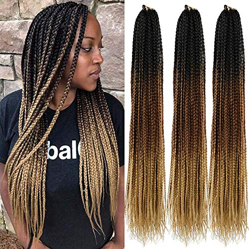 24 Inch Box Braids Crochet Braids 5Packs Ombre Box Braids Crochet Hair Extensions 22Strands/Pack (1B 4 27)