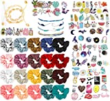 Vsco Girl Stuff (126 pcs) Pack of Stickers for Water Bottles Scrunchies Puka Shell Necklace Choker and Bracelet and Friendship Bracelets for Girls Cool and Trendy Boho Style Accessories
