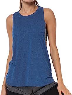 LIERKISS قمصان بدون أكمام للنساء رياضية فضفاضة تناسب التمارين الرياضية ملابس رياضية ريسر باك قمصان قطنية (أزرق، M)