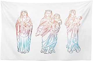 Darkchocl Jesus Merry Christmas Tapestry, Decorative Tapestry Virgin Mary Tattoo Art Symbol Mary Mother Statue Baby Black Work CardFor Room Wall Hanging Tapestry 30 L x 45 W Virgin Mary Tattoo 03