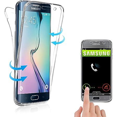 Coque 360° Compatible avec Samsung Galaxy S6 Edge, Housse Etui en ...