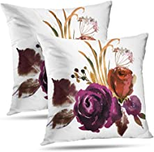 Pakaku Superb Pillowcase, Throw Pillow Covers, Watercolor Fall Floral Corner Bouquet Roses Cushion Cover Gift 2 Sided Pattern 20 x 20, Watercolor Fall 08