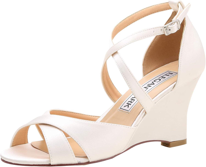 Elegantpark Women Peep Toe High Heel Bridal Wedding shoes Wedges Satin Cross Straps Evening Party Sandals