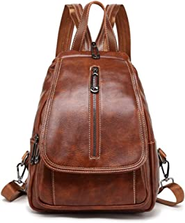 Small Leather Backpack Purse PU Leather Cross-Body Sling Shoulder Bag
