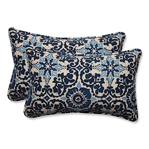 Pillow Perfect Outdoor/Indoor Woodblock Prism Lumbar Pillows 115quot x 185quot Blue 2 Count
