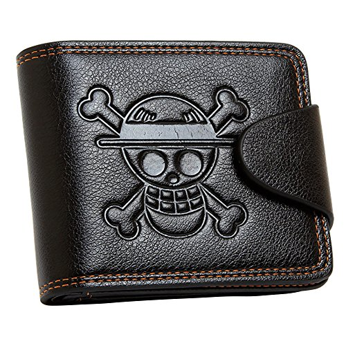 YJacuing Anime One Piece Straw Hat Pirates Jolly Roger Leathercraft Wallet (Faux Leather)