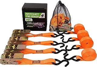 XSTRAP 4PK Ratchet Tie Down Straps Orange