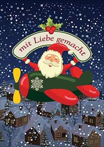 Kartenkaufrausch Mooie kerstkaart met envelop met Santa in het vliegtuig: met liefde gemaakt • als kerstwenskaart voor jaarwisseling voor familie en bedrijf