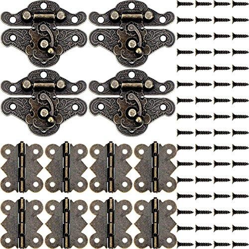 4 Stück Holzkoffer Antik Überfalle Schrankriegel und 8 Stück Schmetterling Scharnier und 70 Schrauben