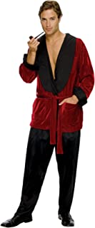 Men's Hugh HEFNER Smoking Jacket Adult Fancy Dress Playboy Costume