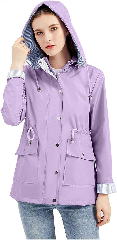 Women's Solid Color Rain Waterproof With Removable Hoodies Casual Lightweight Windbreaker Outdoor Walking Coat Rainc