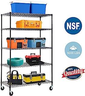 "5-WireShelvingUnit Steel Large Metal Shelf Organizer Garage Storage Shelves Heavy Duty NSF Certified Commercial Grade Height Adjustable Rack 5000 LBS Capacity on 4"" Wheels 24""D x 48""W x 76""H,Black"