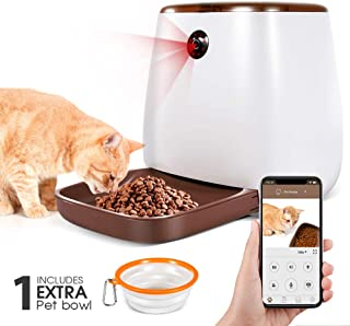 Automatic Pet Feeder 3.3L Smart Dog Cat Dispenser with 1 Extra Pet Bowl, Timer Programmable HD Camera for Voice and Video, iPhone and Android Compatible