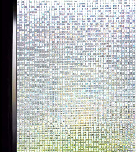 DUOFIRE 3D Window Film Small Mosaic Privacy Window Film Decorative Film Static Cling Glass Film No Glue Anti-UV Window Sticker Non Adhesive for Home Kitchen Office DL004 (35.4in. x 157.4in.)