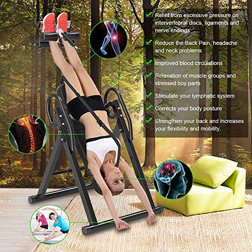 YOLEO Gravity Heavy Duty Inversion Table with Adjustable Headrest & Protective Belt Back Stretcher Machine for Pain Relief Therapy (Black)