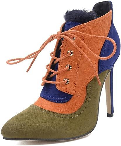 Elegant high chaussures Bottes Femme Bottes Bottes Noires Et Hiver en Peau De Daim Chaussures en Dentelle CroiséE en Fourrure en Lapin  pas cher et de la mode
