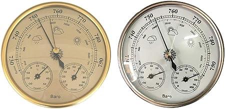 F Fityle 2 Piezas 3 en 1 Termómetro Higrómetro Barómetro Placa Reloj Interior Exterior