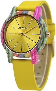 Reloj de Madera W139A, Relojes de Moda Hechos a Mano de Madera Naturales Coloridos de la Mujer Reloj de Pulsera de Cuarzo para Damas de Las Mujeres