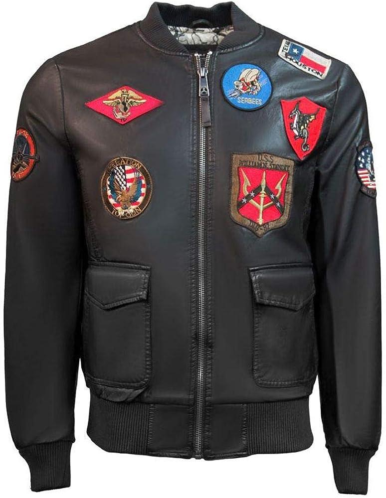 Top Gun Vegan Leather Bomber Jacket Olive