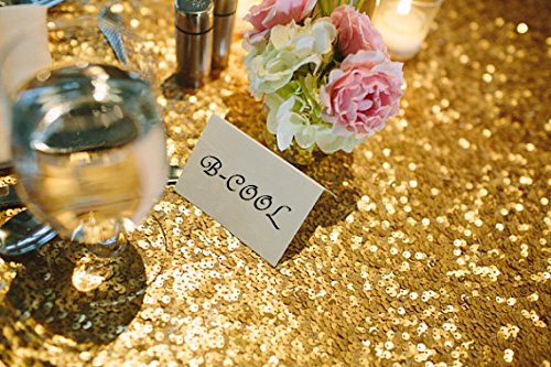 B-COOL 72'' Round Gold Sequin Tablecloth Wedding Tablecloth Sparkly Sequin Linens for Halloween/Thanksgiving Day/Wedding/Party/Curtain/Birthday/Christmas/New Year and Other Event Decor