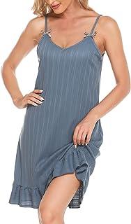 SANGKEE Camisones de Dormir para Mujer, Camisones de algodon para mujer de Cuello en V Suave, Pijama sin Mangas Vestido Su...