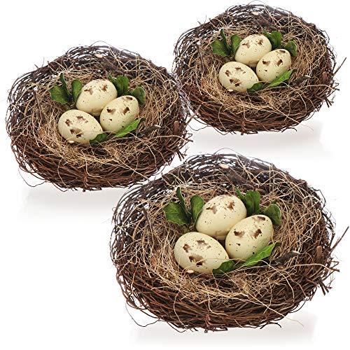 com-four® 3X Nid d'oiseau décoratif avec œufs - nid avec Paille et œufs - décoration de Pâques - Fait Main (3 pièces - nid d'oiseau avec œuf 13x13cm)
