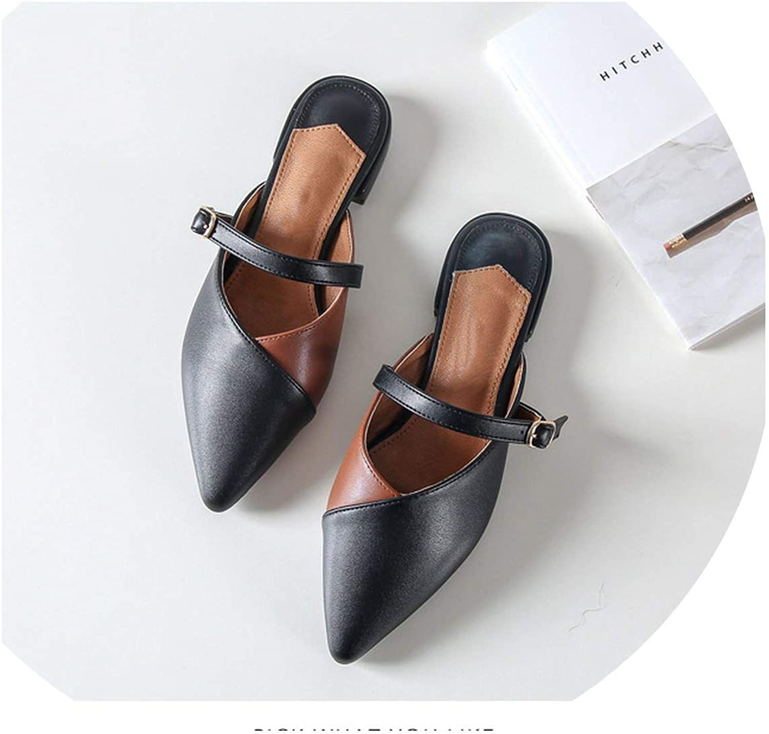 Mules Slides PU Leather Slipper Flat Heel Platform Buckle Woman Pointed Toe shoes