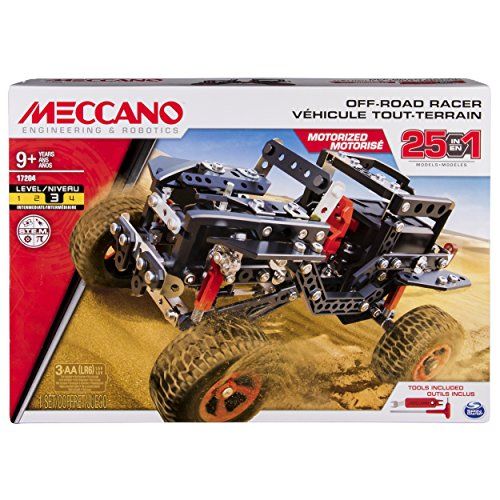 Meccano Erector, Motorized Off Road Racer, 25 Vehicle Model Building Set, 406 Pieces, for Ages 9 and up, STEM Construction Education Toy