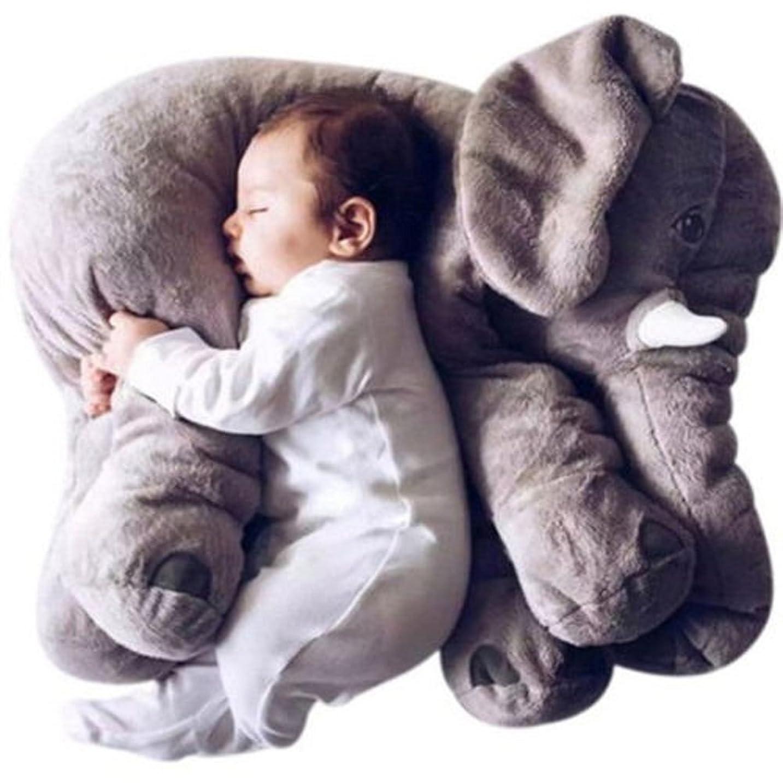 悪党モンキー天の赤ちゃん象の枕柔らかいぬいぐるみの綿の人形赤ちゃん動物のクッション (グレー, S)