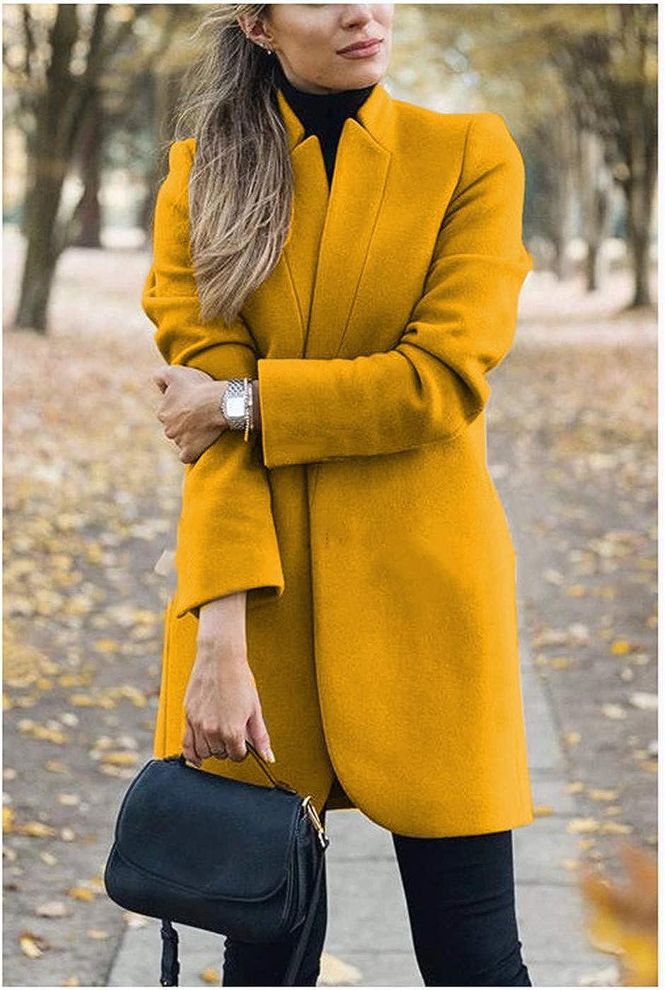 WOOKIT Damen Mädchen Winter Herbst einfarbig Stehkragen Mantel Lässige Langarm-Strickjacken Jacken Gelb