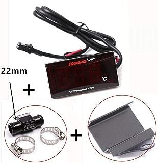 Waterproof 12 V Motorcycle Digital Thermometer Moto LED Engine Water Temperature Instrument Pyrometer Alarm Gauge Meter Set Meal Three(22mm)