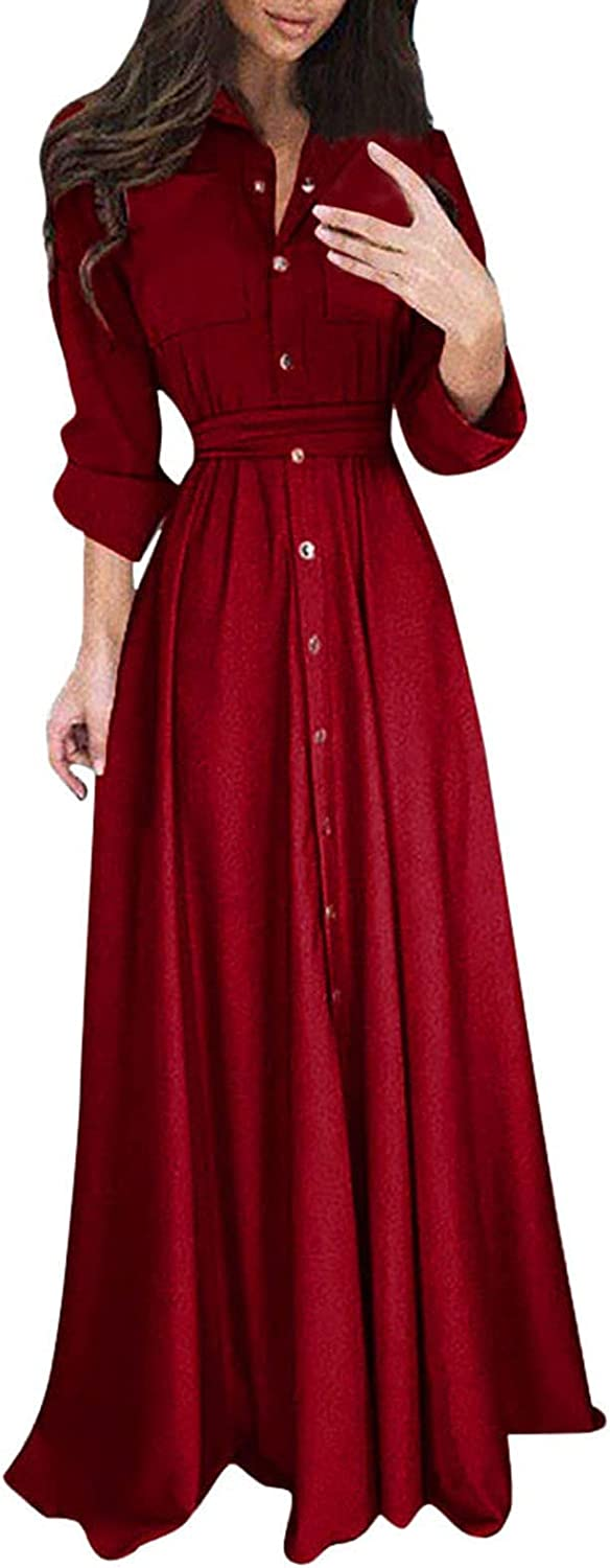 Maqroz Wedding Guest Dresses for Women Fashion Long Sleeve Solid Dress Buttons Sexy Dress for Women Party Club Night Red