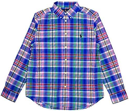 Polo Ralph Lauren Kids Boy s Plaid Cotton Poplin Shirt Big Kids Royal Multi MD 10 12 Big Kids product image