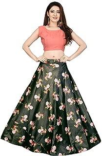 Indian Dresses Store Shivay Enterprise Women's Silk Digital Print Semi-Stitched Lehenga Choli (Multicolour, Free Size)