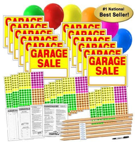 Garage Sale Pup Juego de Carteles de Venta de Garaje con Pegatinas de Precio y estacas de Madera (A804G)