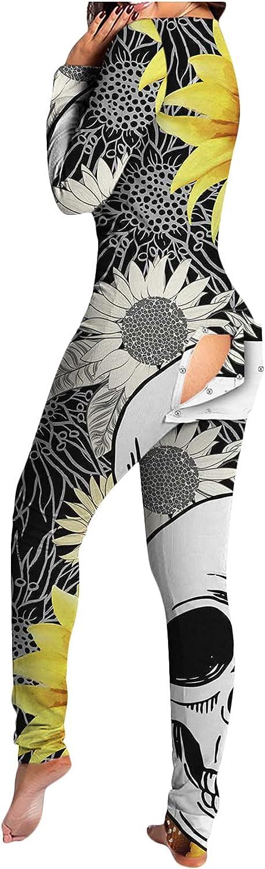MIVAMIYA Women Button-Down Jumpsuit Halloween Deep V Neck Bodysuit Onesie Long Sleeve Buttoned Flap Pajamas Rompers Overall
