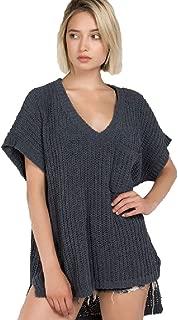 Short Sleeve Chenille Sweater Popcorn Sweater
