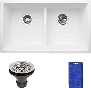 Enbol GD-3118-W 31 Inch White Color 50/50 Low Divide Double Bowl Highly Durable Granite Composite Quartz Undermount Kitchen Sink, More Workspace