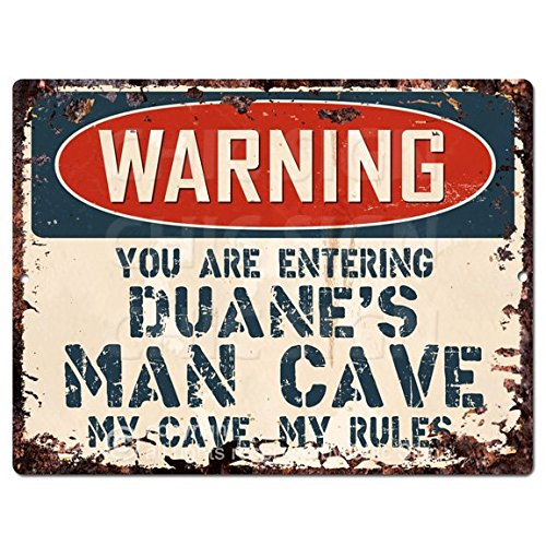 WARNING YOU ARE ENTERING DUANE'S MAN CAVE Chic Sign Vintage Retro Rustic 9'x 12' Metal Plate Store Home Room Wall Decor Gift