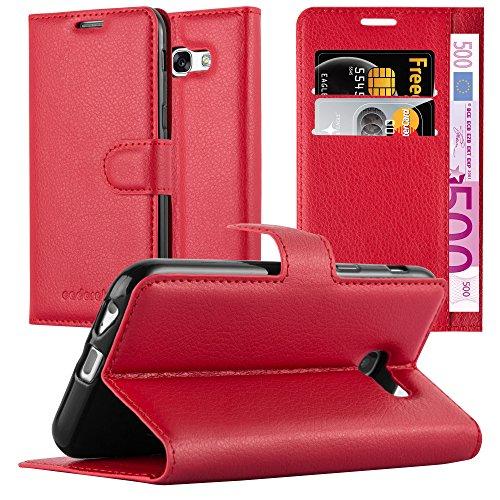 Cadorabo Hülle kompatibel mit Samsung Galaxy A3 2017 (7) Hülle in Karmin ROT Handyhülle mit Kartenfach & Standfunktion Schutzhülle Etui Tasche