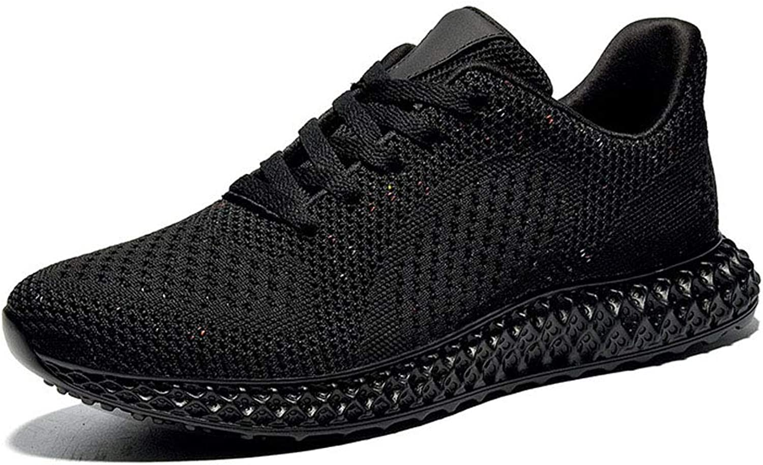 Sports shoes Fly Woven lace Casual shoes Breathable Sports Fitness Running shoes-black-43