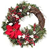 CROSYO 1 UNID Guirnalda de Navidad Planta Artificial Rattan Circle Decoración de la Pared Simulación Fake Flow Puerta Colgante Corona for el hogar (Color : 3)