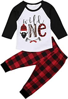 Baby 1st Birthday Outfit Long Sleeve Wild One Top Plaid Pants Clothes Set