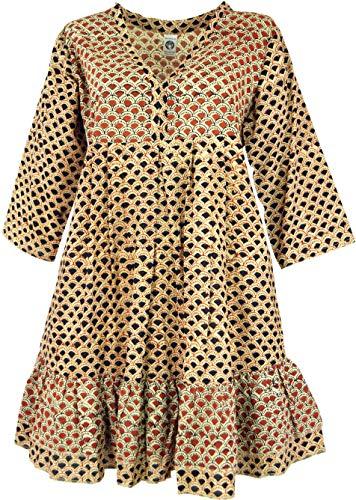Guru-Shop - Túnica boho chic, maxitunika, minivestido, mujer, rojo, algodón, talla: 40, blusas y túnica ropa alternativa Sabana 42
