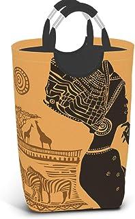 Belle femme noire panier à linge sale vêtements sac femme africaine seau pliable poubelle à laver jouets organisateur de r...