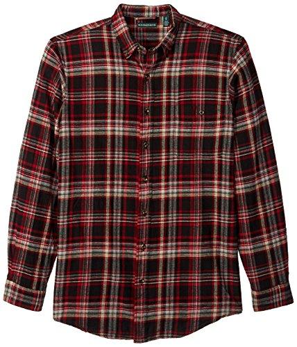 G.H. Bass & Co. Camisa masculina de manga comprida com botões de flanela Fireside, Preto, XX-Large Tall