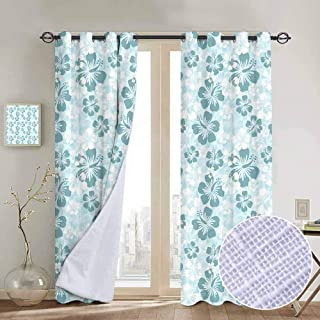 hengshu Hawaii Shading Insulated Curtain Flower Silhouettes Spring Season Faded Floral Arrangement Blooming Nature for Living Room or Bedroom W96 x L84 Inch Pale Blue Turquoise