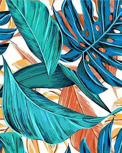 Pintura por número Hoja Paisaje Pintura al óleo Arte Regalo Imágenes de Bricolaje por número Kits de Lienzo Decoración del hogar 40x50cm con Marco