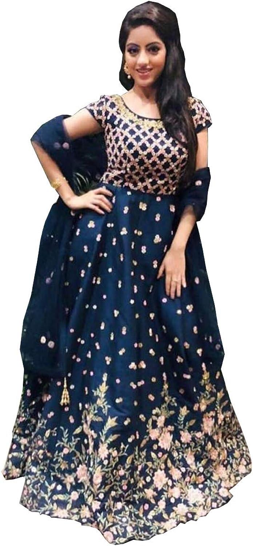AMIT FASHIONS Exclusive Indian Designer Semi Stitch Salwar Suit for Women's Dark bluee